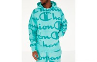Champion Men's Reverse Weave Allover Print Large Script Hoodie - Waterfall Green