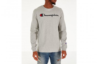 Champion Men's Heritage Logo Long Sleeve T-Shirt - Oxford Grey