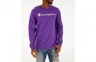 Champion Men's Heritage Logo Long Sleeve T-Shirt - Purple/Black