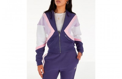 Champion Women's Reverse Weave Full-Zip Hoodie - Blue/White/Violet