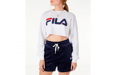 Fila Women's Colette Long-Sleeve Crop T-Shirt - White