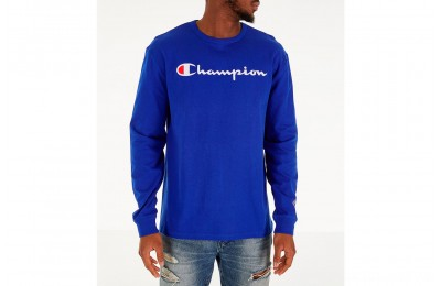 Champion Men's Heritage Logo Long Sleeve T-Shirt - Royal