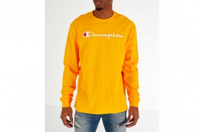 Champion Men's Heritage Logo Long Sleeve T-Shirt - Gold