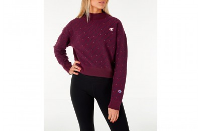 Champion Women's Reverse Weave Script Logo Mock Neck Crop Sweatshirt - Berry/Script