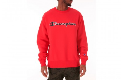 Champion Men's Reverse Weave Script Logo Crewneck Sweatshirt - Red