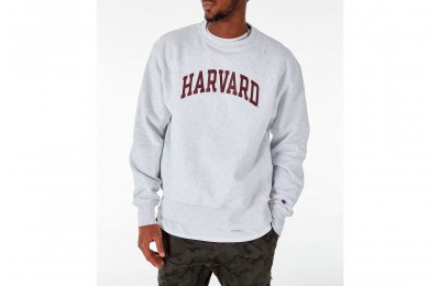 Champion Men's Harvard Crimson College Reverse Weave Crewneck Sweatshirt - Silver Grey