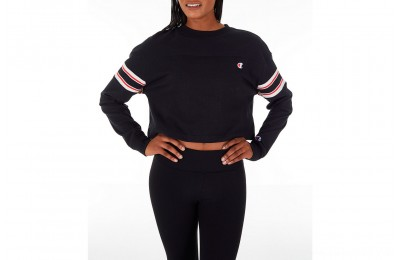 Champion Women's Long-Sleeve Crop T-Shirt - Black