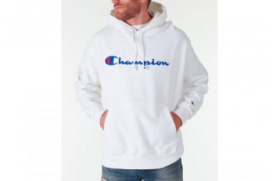 Champion Men's Reverse Weave Script Pullover Hoodie - White