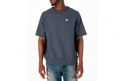Champion Men's Reverse Weave Short-Sleeve Crew Sweatshirt - Dark Grey