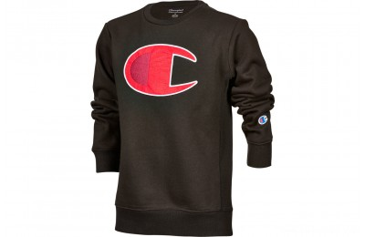 Champion Kids' Big C Crew Sweatshirt - Black/Scarlet
