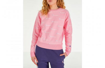 Champion Women's Reverse Weave Allover Print Crewneck Sweatshirt - Pink Candy/White
