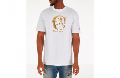 Champion Men's Metallic Running Man T-Shirt - White/Gold