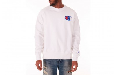Champion Men's Reverse Weave Big C Patch Crewneck Sweatshirt - White