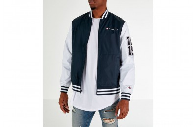 Champion Men's Satin Baseball Jacket - Black/White