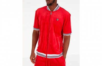 Fila Men's Carezzi Velour Full-Zip T-Shirt Jacket - Red