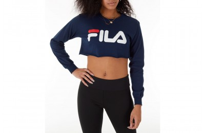 Fila Women's Colette Long-Sleeve Crop T-Shirt - Navy/White/Red