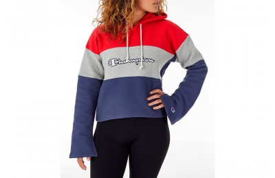 Champion Women's Reverse Weave Blocked Hoodie - Navy/Red