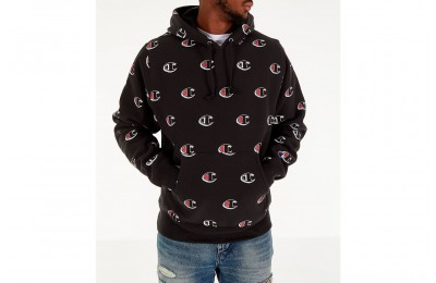 Champion Men's Reverse Weave Allover Scribble Script Hoodie - Black