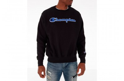 Champion Men's Reverse Weave Chenille Logo Crewneck Sweatshirt - Black