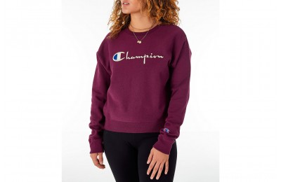 Champion Women's Reverse Weave Crew Sweatshirt - Dark Berry Purple