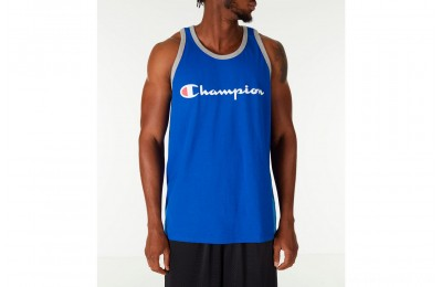 Champion Men's Script Tank - Blue