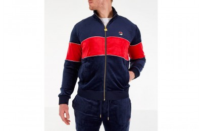 Fila Men's Rocco Velour Jacket - Navy/Red