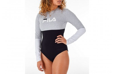 Fila Women's Elena Bodysuit - Black/Grey/White