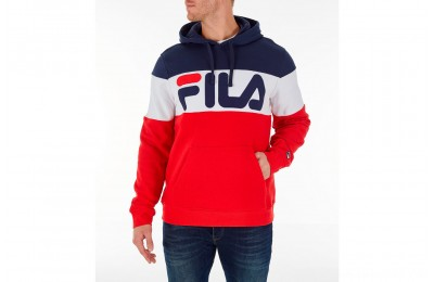 Fila Men's Flamino Pullover Hoodie - Red/White/Navy