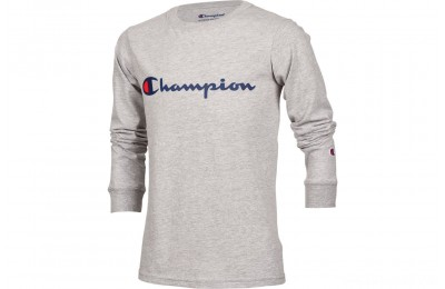 Champion Kids' Heritage Logo Long Sleeve T-Shirt - Oxford Heather