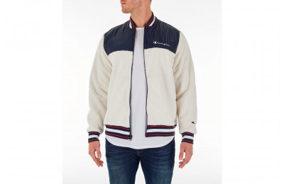 Champion Men's Sherpa Baseball Jacket - Quartz Cream