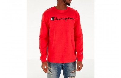 Champion Men's Heritage Logo Long Sleeve T-Shirt - Red