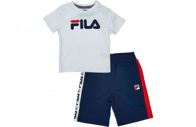 Fila Boys' Toddler Classic Logo Short Set - White/Navy