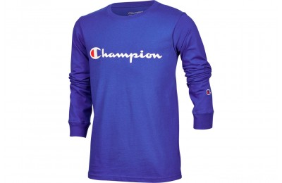 Champion Kids' Heritage Logo Long Sleeve T-Shirt - Surf the Web Blue