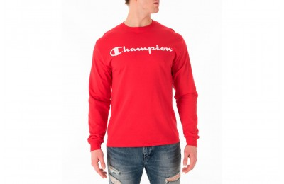 Champion Men's Script Long Sleeve T-Shirt - Red