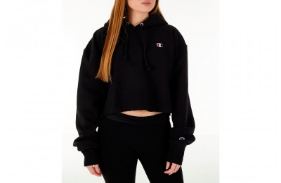 Champion Women's Reverse Weave Crop Hoodie - Black