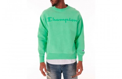 Champion Men's Reverse Weave Garment Dyed Crewneck Sweatshirt - Milkglass Green