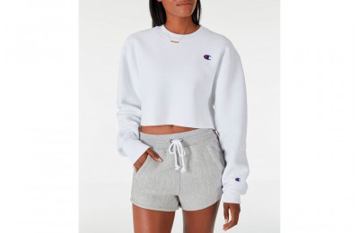 Champion Women's Reverse Weave Crop Crew Sweatshirt - White