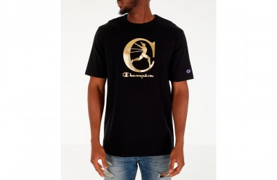 Champion Men's Metallic Running Man T-Shirt - Black/Gold