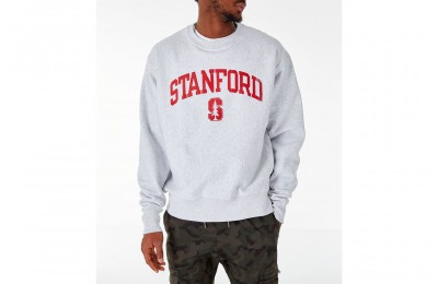 Champion Men's Stanford Cardinal College Reverse Weave Crewneck Sweatshirt - Silver Grey