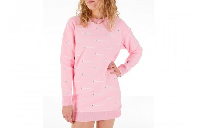 Champion Women's Life Reverse Weave Allover Print Crew Sweatshirt Dress - Pink Candy/White