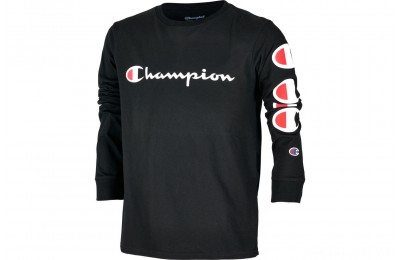 Champion Kids' Heritage Logo Long Sleeve T-Shirt - Black