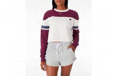 Champion Women's Long-Sleeve Crop T-Shirt - Cream/Berry