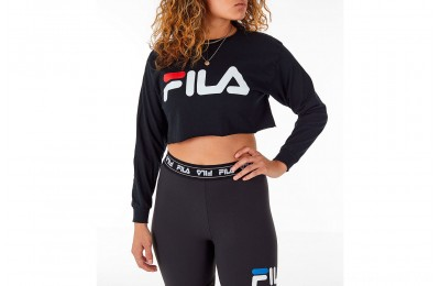 Fila Women's Colette Long-Sleeve Crop T-Shirt - Black/White/Red