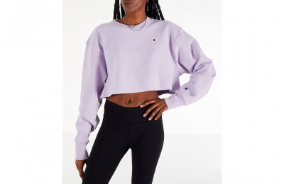Champion Women's Reverse Weave Crop Crew Sweatshirt - Pale Violet Rose