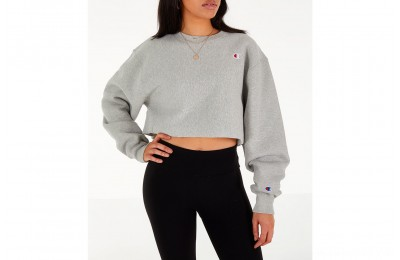 Champion Women's Reverse Weave Crop Crew Sweatshirt - Oxford Grey