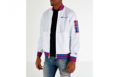 Champion Men's Satin Baseball Jacket - White