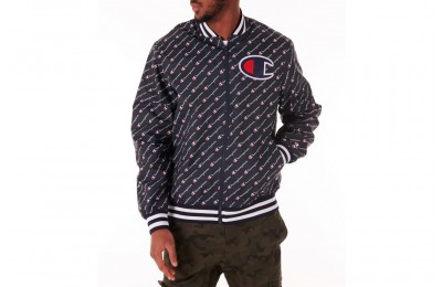 Champion Men's Satin Baseball Jacket - Navy