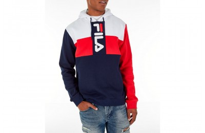 Fila Men's Ollie Colorblock Logo Hoodie - Navy/Red/White