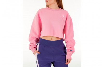 Champion Women's Reverse Weave Crop Crew Sweatshirt - Pink Candy