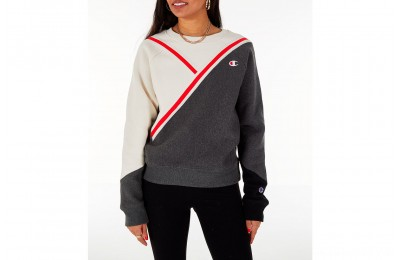 Champion Women's Reverse Weave Colorblock Varsity Crewneck Sweatshirt - Cream/Grey